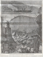 "Picture of the quarry from ""Disaster at The Crarae Quarries,"" Scotland, 1886"
