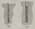 """The usual method of charging and tamping a hole in using the new system is shown in Fig. 8. The charge of powder is shown at C, the air space at B and the tamping at A. Fig. 9 is a special hole for use in thin beds of rock"" (from the December 12, 1891, issue of Scientific American Supplement)"