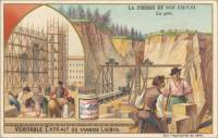 French Trade Card - Sandstone Quarrying, front (ca 1903)