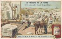 French Trade Card - Marble Quarrying, front (ca 1903)