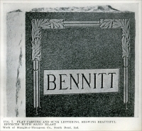 """Fig. 7. Flat carving and sunk lettering, showing beautiful effects with sand blast. Work of Slaughter-Thompson Co., South Bend, Indiana."" From ""The Monumental News,"" May 1921, pp. 348-350."