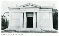 """Charles G. Blake & Company, Contractors."" (""One of the finest mausoleums erected in Chicago (in the Graceland Cemetery in Illinois) in recent years is the 'Lehmann' mausoleum...."") (From ""Some Examples of Recent Mausoleum Work,"" The Monumental News, January 1921, pp. 44)"