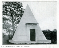 """P. N. Peterson Granite Company, Contractors."" (""…The 'Wood' mausoleum…was erected by the P. N. Peterson Granite Co., in Lakewood Cemetery, Minneapolis...."") (From ""Some Examples of Recent Mausoleum Work,"" The Monumental News, January 1921, pp. 44)"