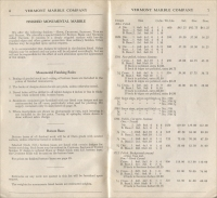 Pages 6 & 7 of the Vermont Marble Co. Price List of Monumental Marble, Effective Sept. 1, 1946 (Price List for Design Book #21)