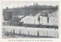 """One of the Locomotive Cranes in Use at the American Carrara."" (circa 1904)"
